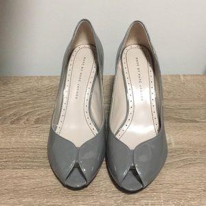 Marc Jacobs Grey Patent Peep Toe Pumps